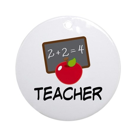 Teacher Apple Ornament (Round)