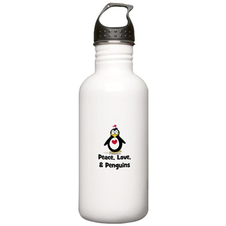 Peace, Love and Penguins Stainless Water Bottle 1.