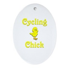 Cycling Chick Ornament (Oval)