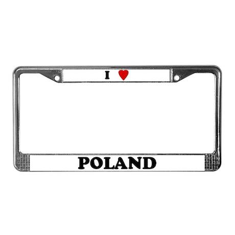 I Love Poland License Plate Frame