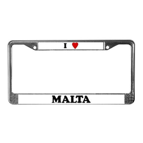 I Love Malta License Plate Frame