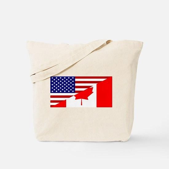 Canadian American Flag Tote Bag