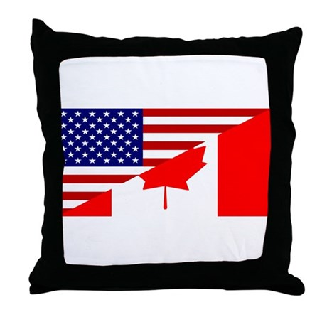 Canadian American Flag Throw Pillow