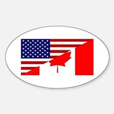 Canadian American Flag Sticker (Oval)