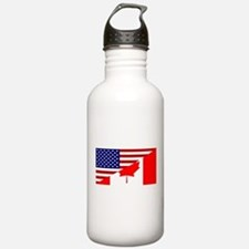 Canadian American Flag Sports Water Bottle