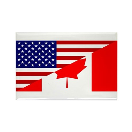 Canadian American Flag Rectangle Magnet (100 pack)
