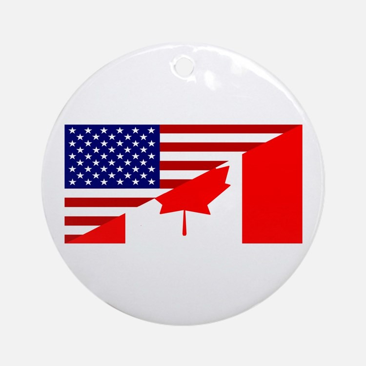 Canadian American Flag Ornament (Round)