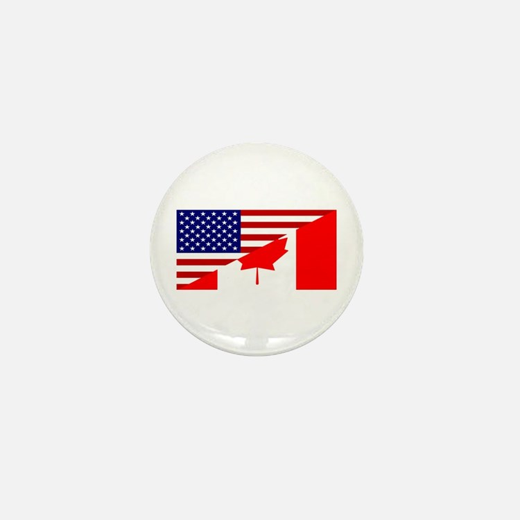 Canadian American Flag Mini Button