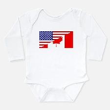 Canadian American Flag Long Sleeve Infant Bodysuit