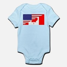 Canadian American Flag Infant Bodysuit