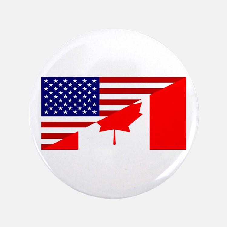 """Canadian American Flag 3.5"""" Button"""
