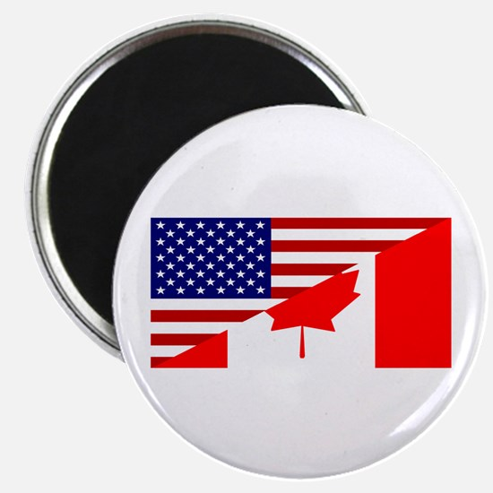 """Canadian American Flag 2.25"""" Magnet (10 pack)"""