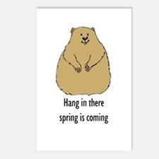 hang in there groundhog Postcards (Package of 8)
