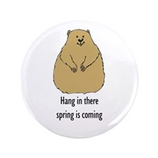 """hang in there groundhog 3.5"""" Button"""