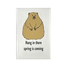hang in there groundhog Rectangle Magnet