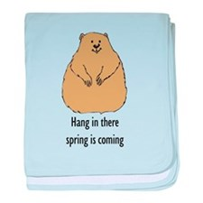 hang in there groundhog baby blanket