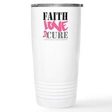 Faith Love Cure Breast Cancer Travel Mug