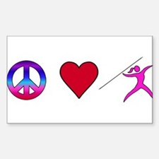 Peace Love Javelin Sticker (Rectangle)