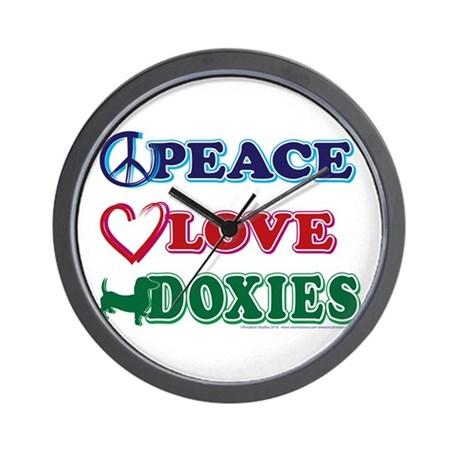 Peace Love Doxies - Dachshunds Wall Clock