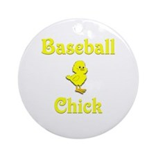 Baseball Chick Ornament (Round)