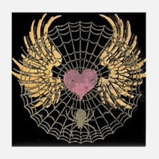 Cute Heart and spider web Tile Coaster