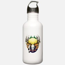 Deer skull with feathers Water Bottle