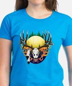 Deer skull with feathers Tee