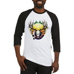 Deer skull with feathers Baseball Jersey