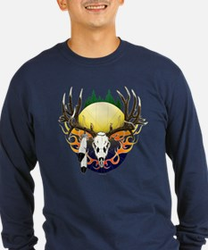 Deer skull with feathers T