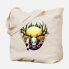Deer skull with feathers Tote Bag