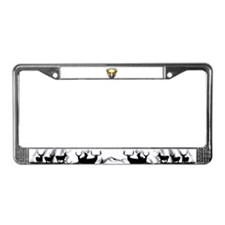 Deer skull with feathers License Plate Frame
