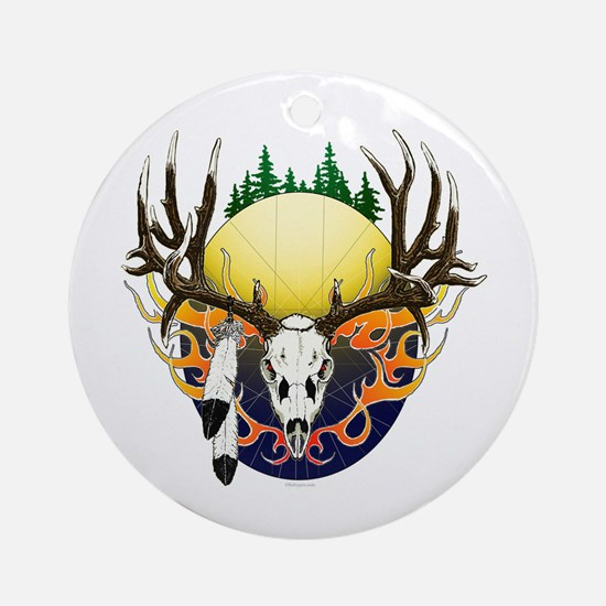 Deer skull with feathers Ornament (Round)