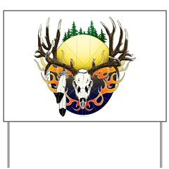 Deer skull with feathers Yard Sign