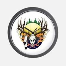 Deer skull with feathers Wall Clock
