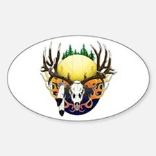 Deer skull with feathers Decal