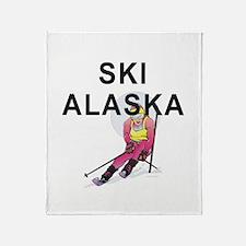 Ski Alaska Throw Blanket