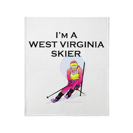 West Virginia Skier Throw Blanket