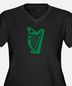 Irish harp Women's Plus Size V-Neck Dark T-Shirt