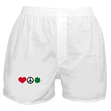 Love, Peace & Shamrock Boxer Shorts