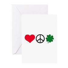 Love, Peace & Shamrock Greeting Cards (Pk of 20)