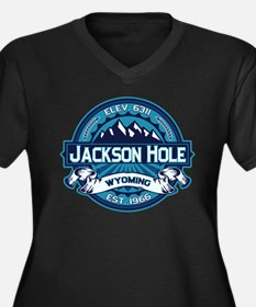 Jackson Hole Ice Women's Plus Size V-Neck Dark T-S