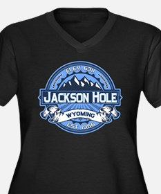 Jackson Hole Blue Women's Plus Size V-Neck Dark T-