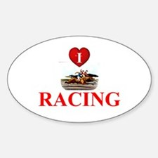 TOP I Love Horse Racing Sticker (Oval)