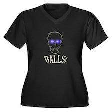 Balls Women's Plus Size V-Neck Dark T-Shirt