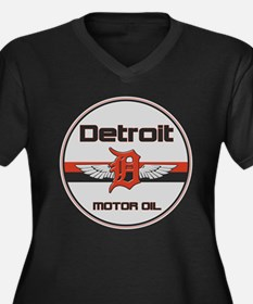 Detroit Motor Oil Women's Plus Size V-Neck Dark T-