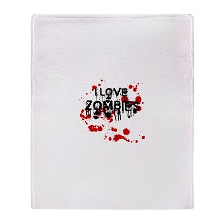 I Love Zombies Throw Blanket