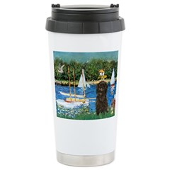 Sailboats / Affenpinscher Ceramic Travel Mug