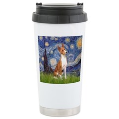 Starry Night & Basenji Travel Mug