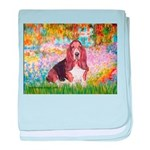Basset in the Garden baby blanket