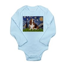 Starry Night & Basset Long Sleeve Infant Bodysuit
